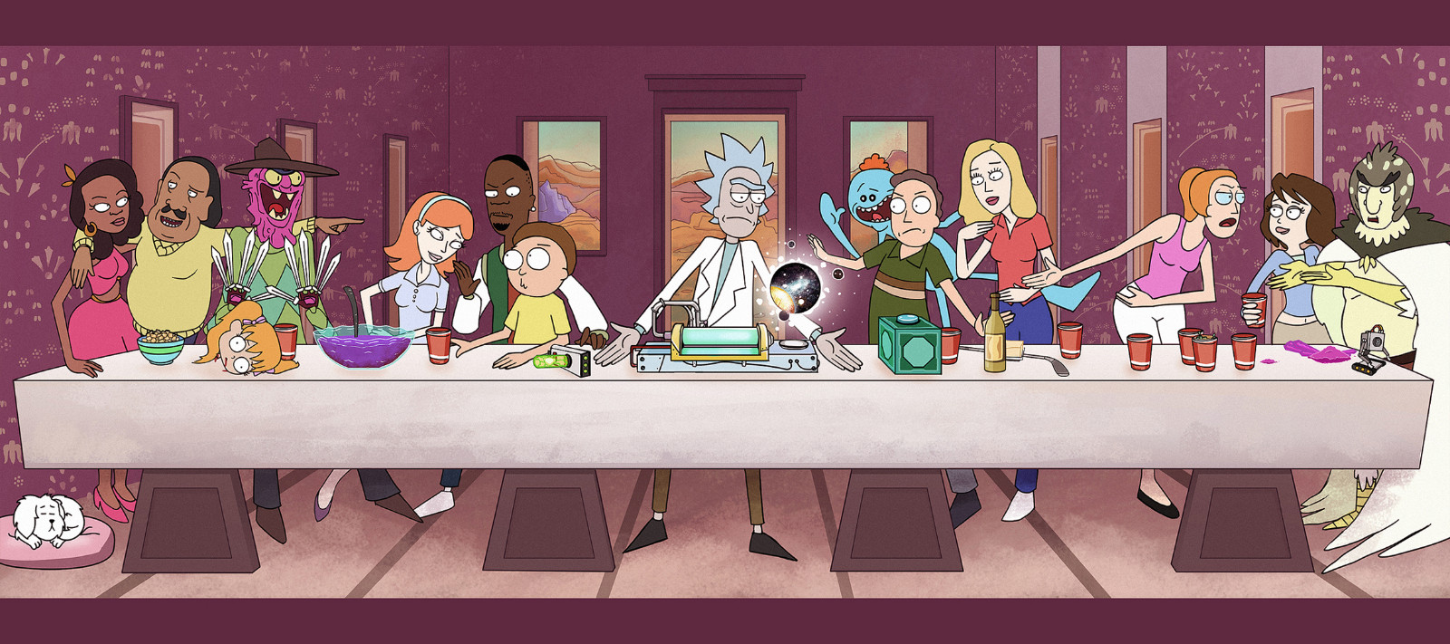A Party Rick and Morty Hot Cartoon Animation Poster Vintage Retro 1600x711