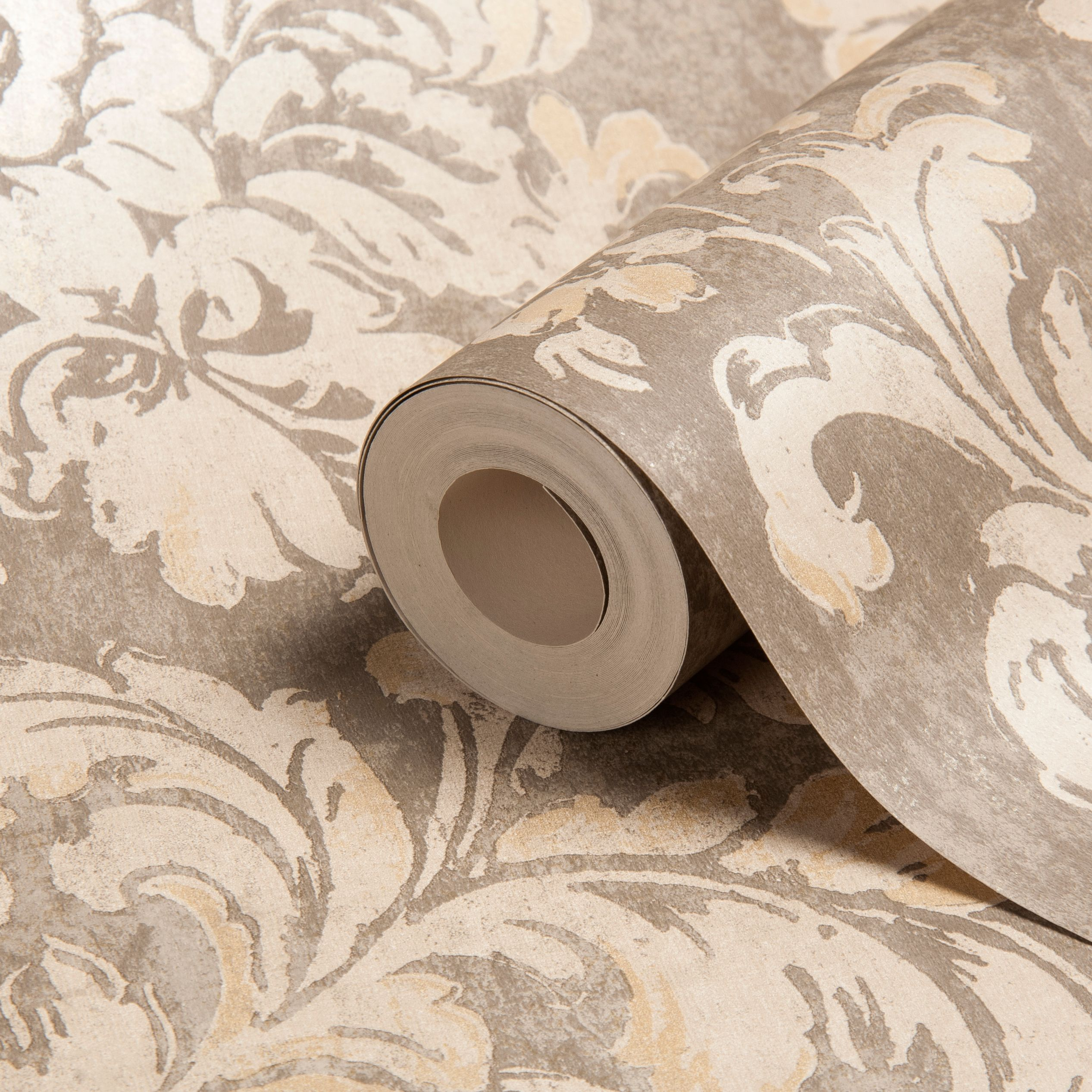 Decadent Trail Motif Gold Effect Wallpaper Departments DIY at BQ 2533x2533