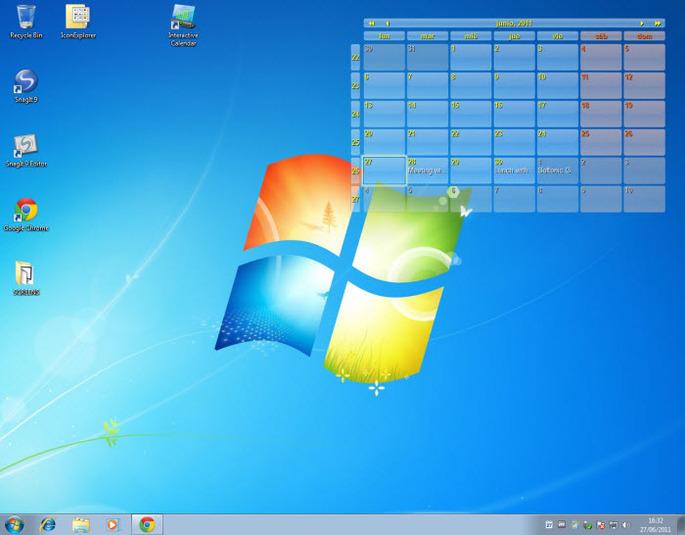 Highly customizable interactive desktop calendar 685x535