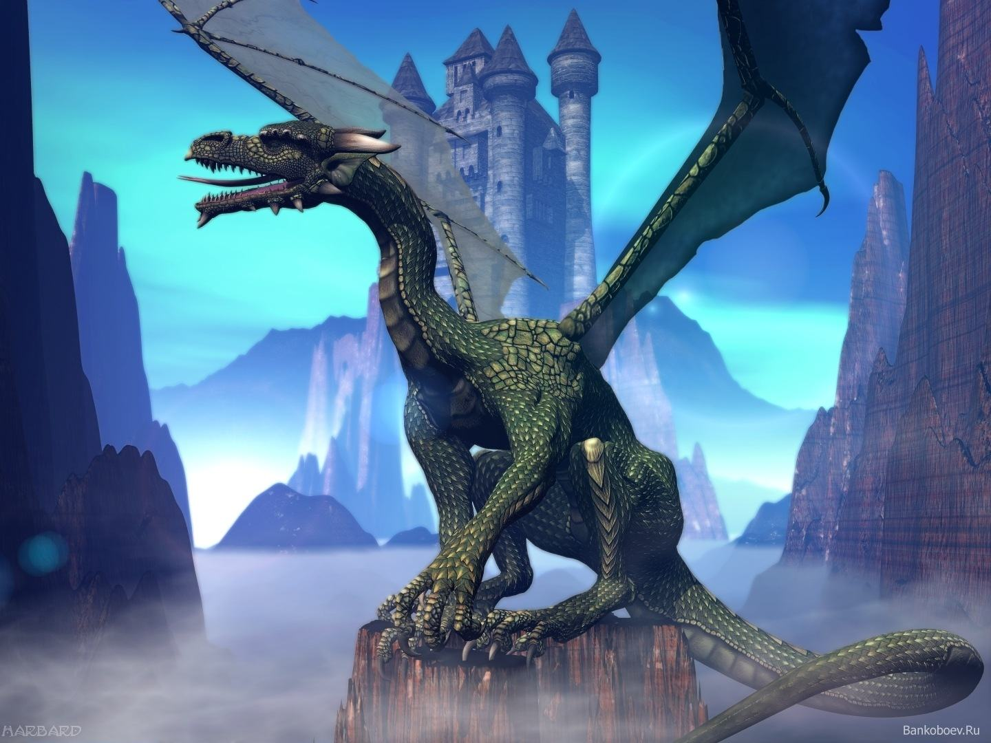 Wallpapers Backgrounds   3D dragon animation wallpaper bit blue sea 1440x1080