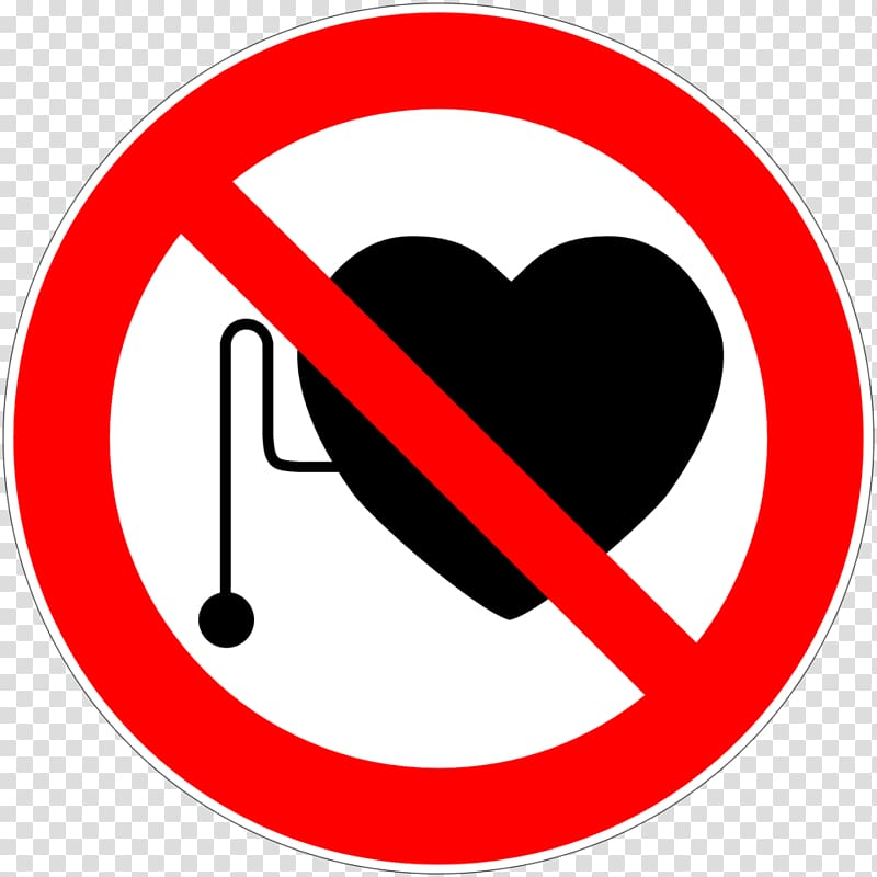 Artificial cardiac pacemaker Sign No symbol Hazard Medical device 800x800