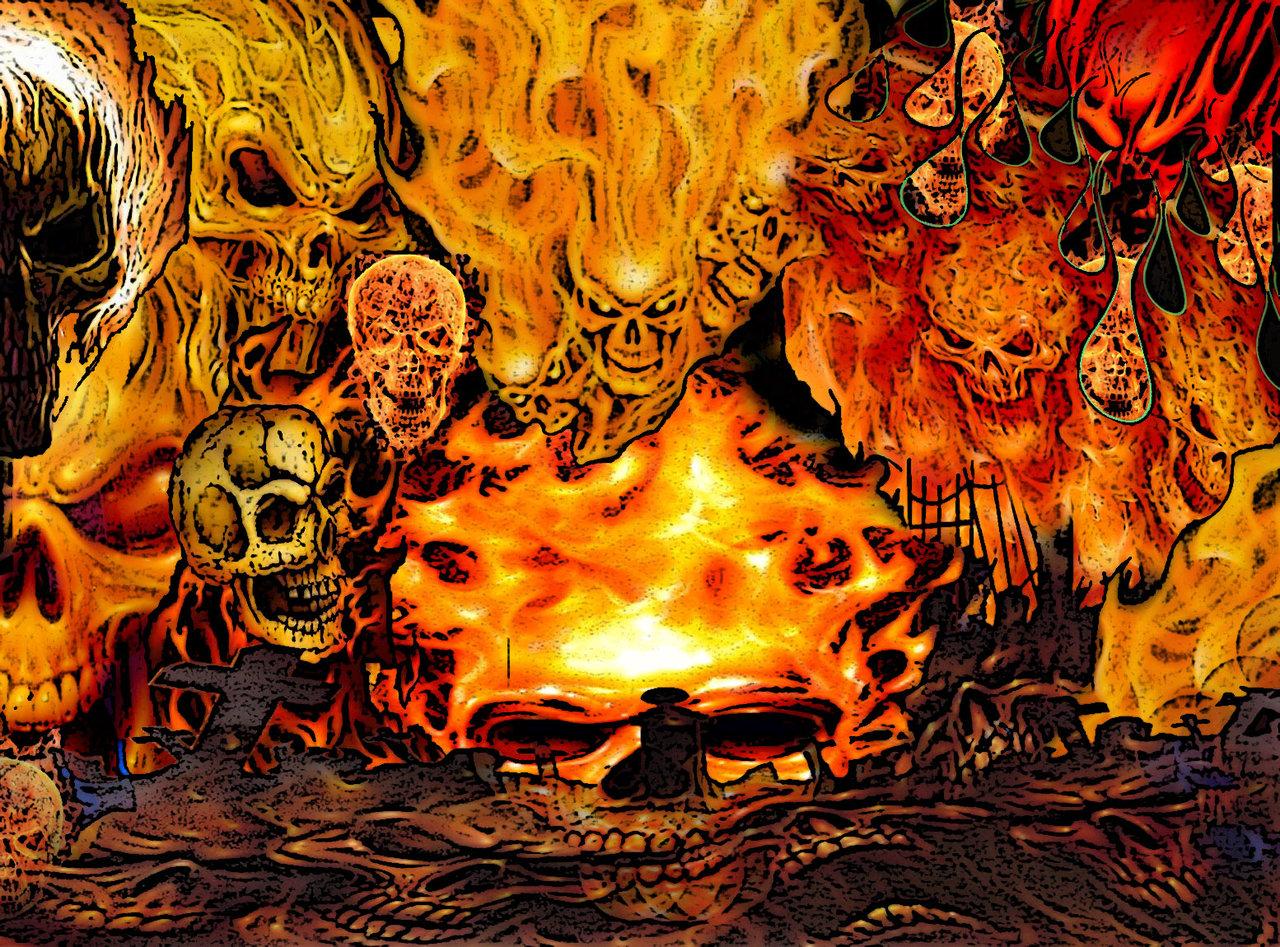 Flaming Demon Skull Wallpaper Fire demon skulls by fiendy 1280x947