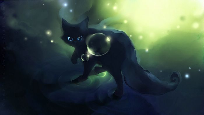 Mysterious demon cat Amazing Little Kitty Illustrations Wallpaper 17 700x394