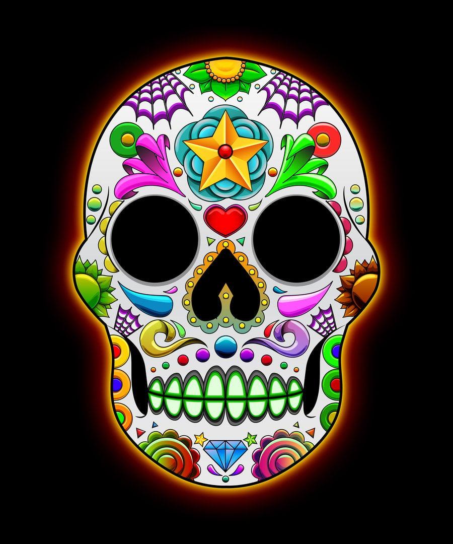 Candy skull wallpaper wallpapersafari - Sugar skull background ...