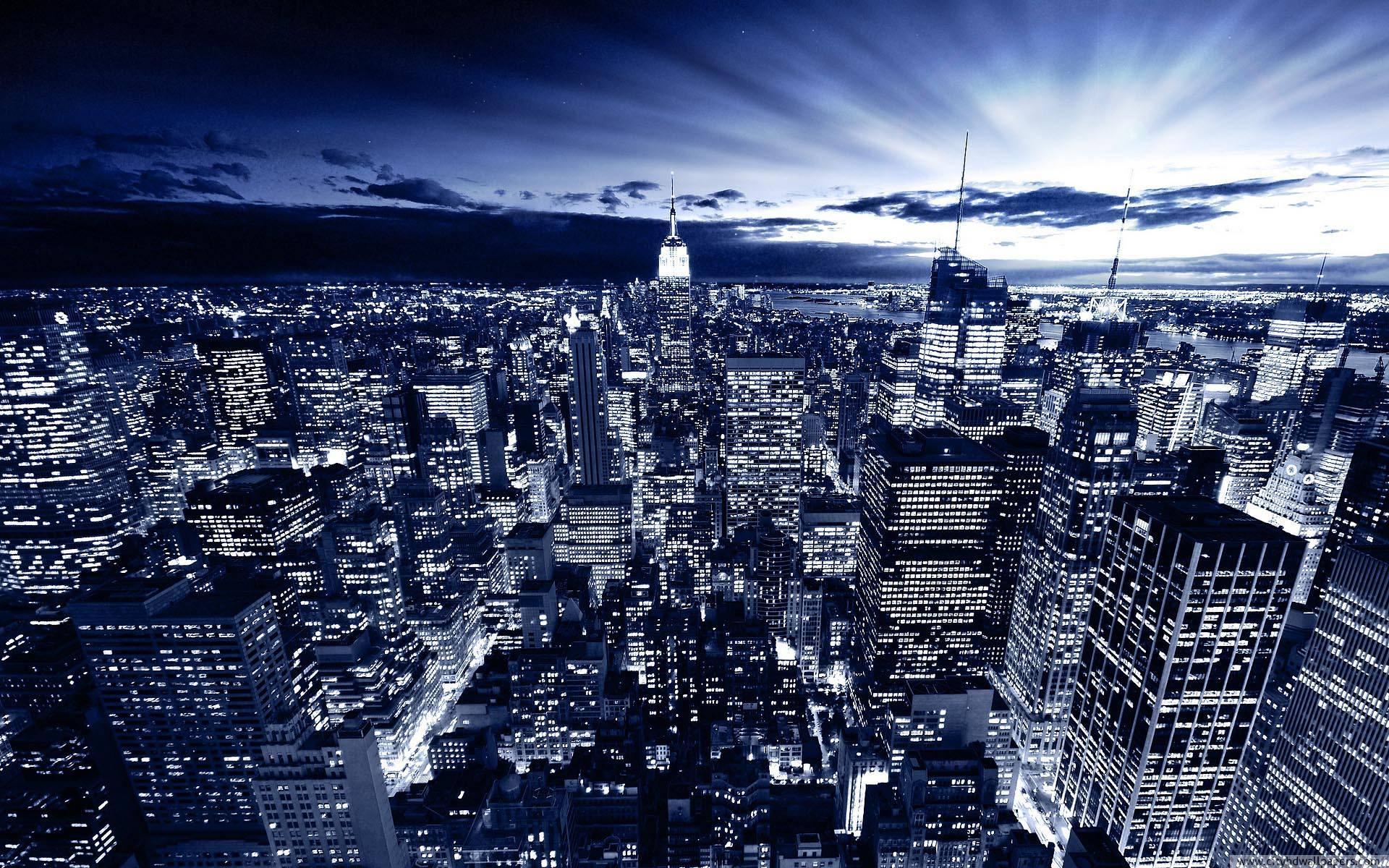 Beautiful city building night light of New York city wallpaper 1920x1200
