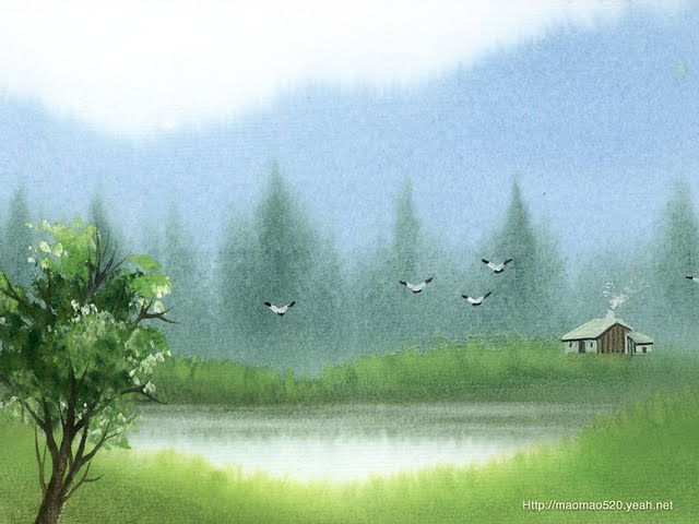 Peaceful Rural Scene   Landscapes Painting Wallpaper Wallpaper 640x480
