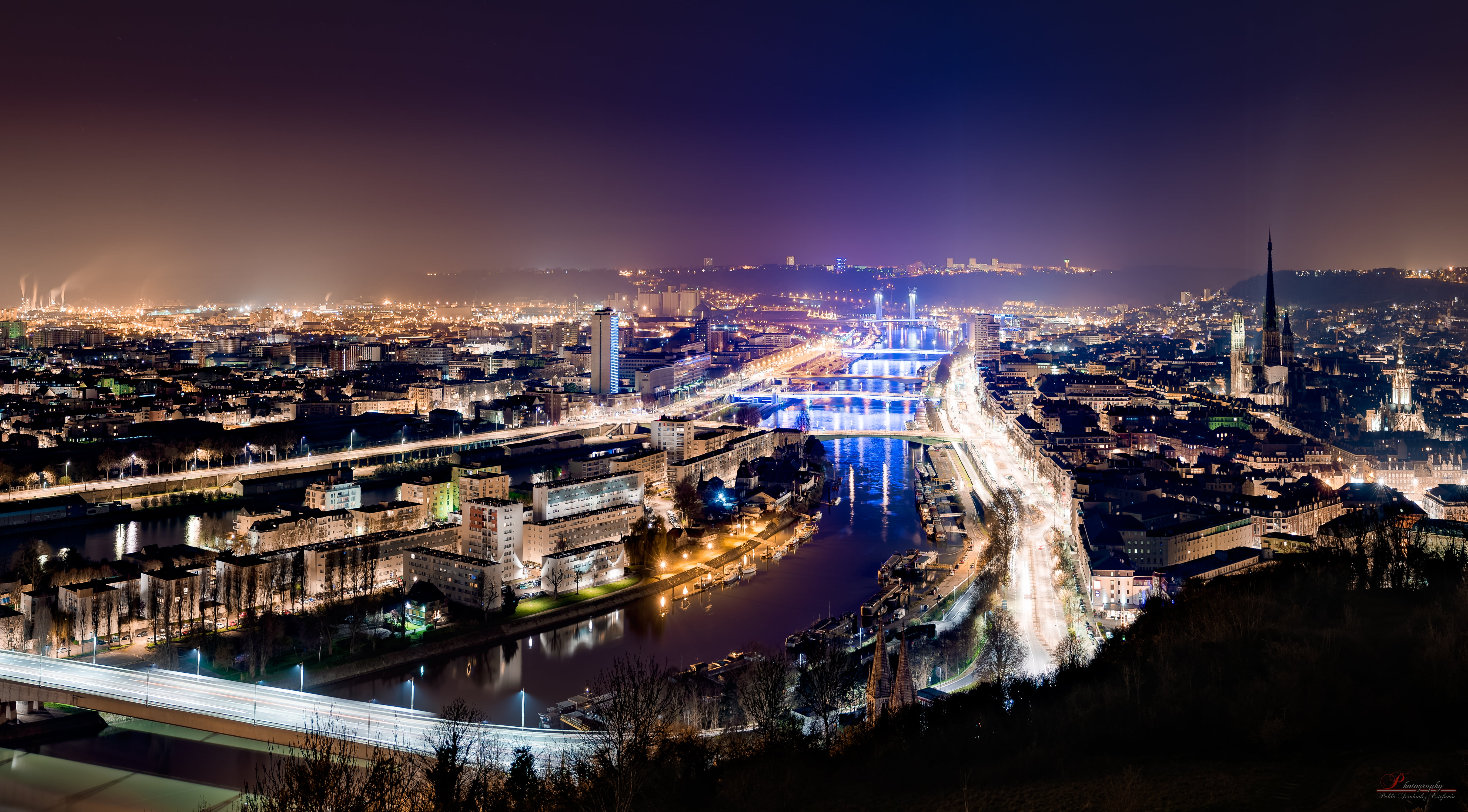 Time lapse photography of city at night rouen HD wallpaper 5433x3007
