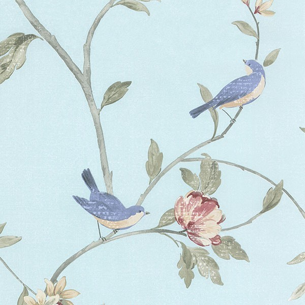 Blue Birds in Blossoming Trees Wallpaper   Traditional   Wallpaper 600x600