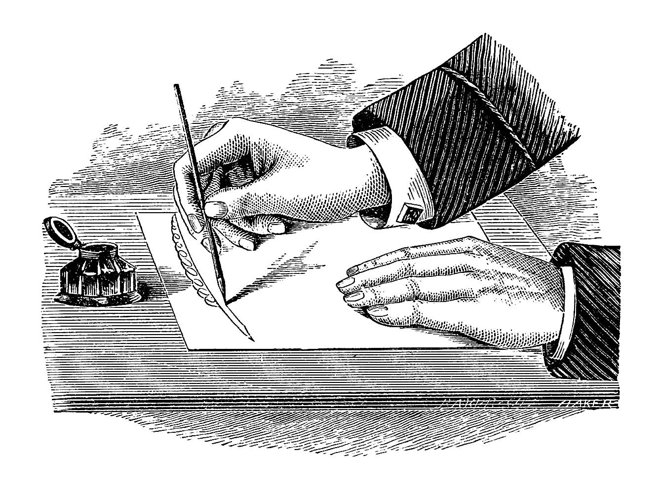 Antique Images Black and White Illustration Vintage Hand and Writing 1335x997