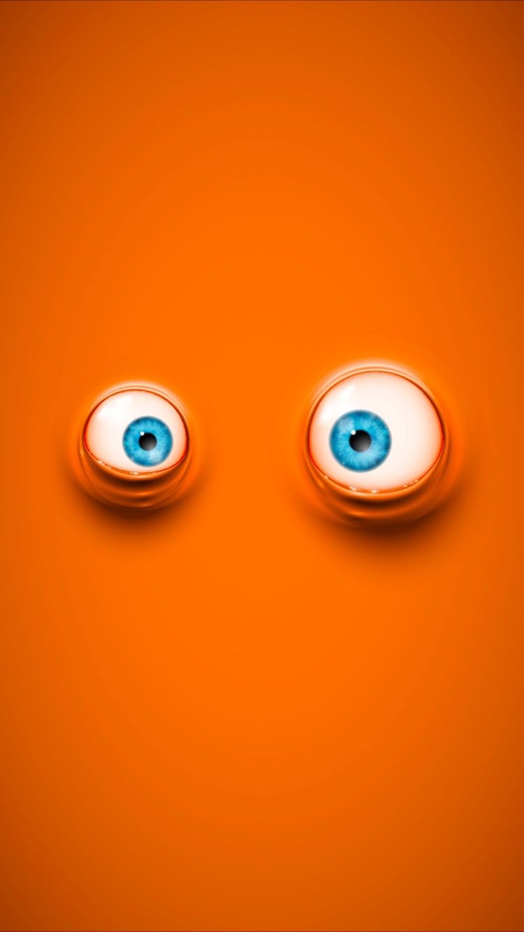Cool cartoon eyes on orange background wallpapers for iPhone 7 750x1334