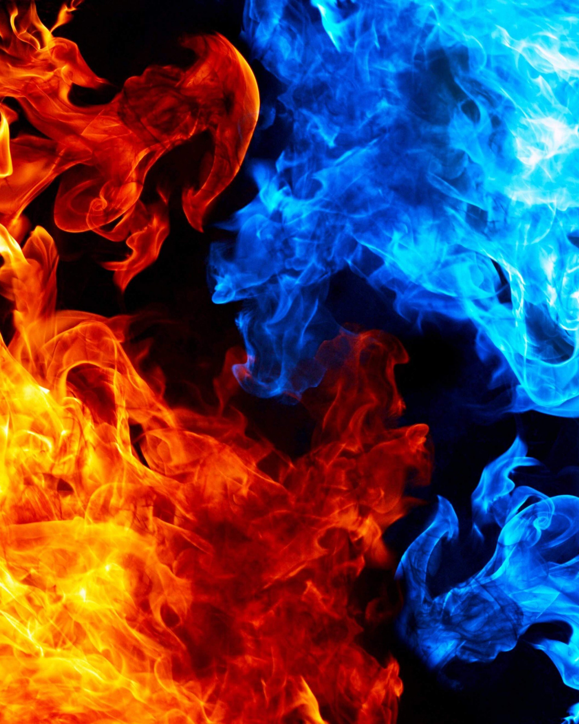 Blue And Red Fire Wallpaper
