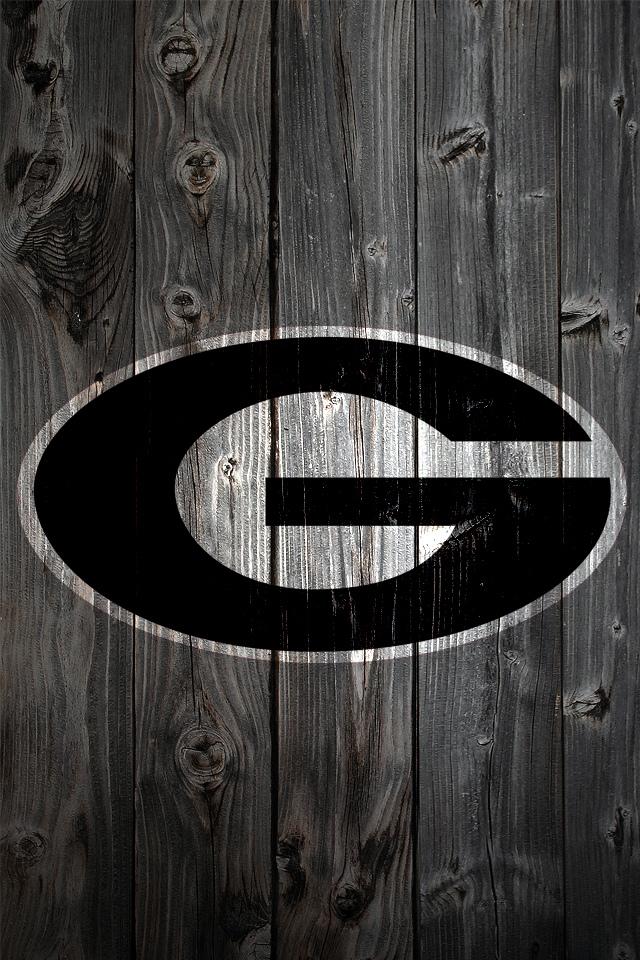 Georgia Bulldogs Logo on Wood Background   iPhone 4 wallpaper 640x960