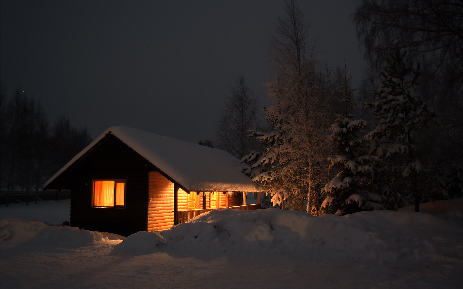 snow on cabin in woods Wallpaper Background 54539 1920x1200