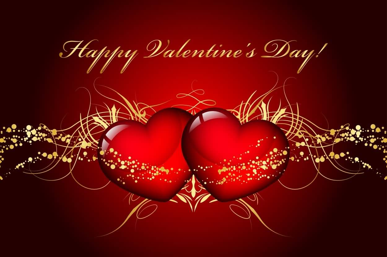 Happy Valentines Day Two Hearts Wallpaper 1250x833
