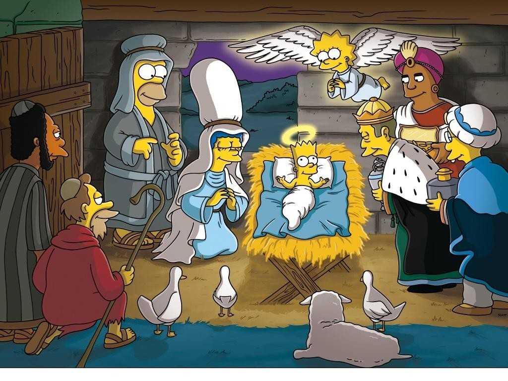 christmas simpsons   The Simpsons Wallpaper 9474322 1024x768