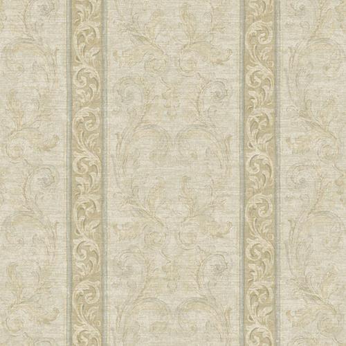 Grey Blue Cocoa Brown and Soft Silver Jacobean Stripe Wallpaper 500x500