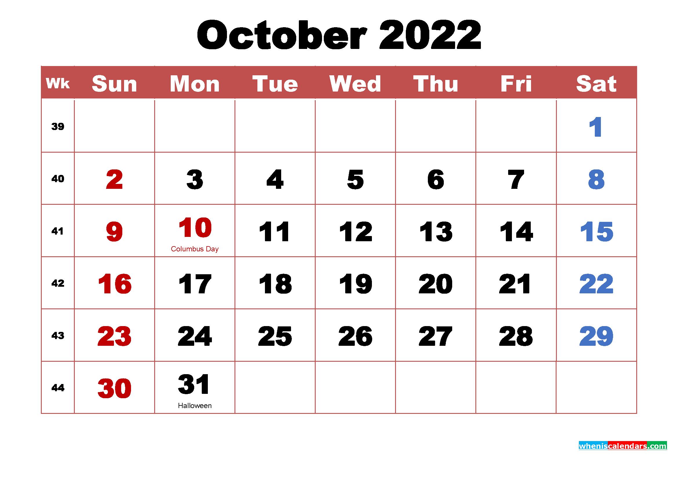 October 2022 Calendar Wallpaper High Resolution 2339x1654