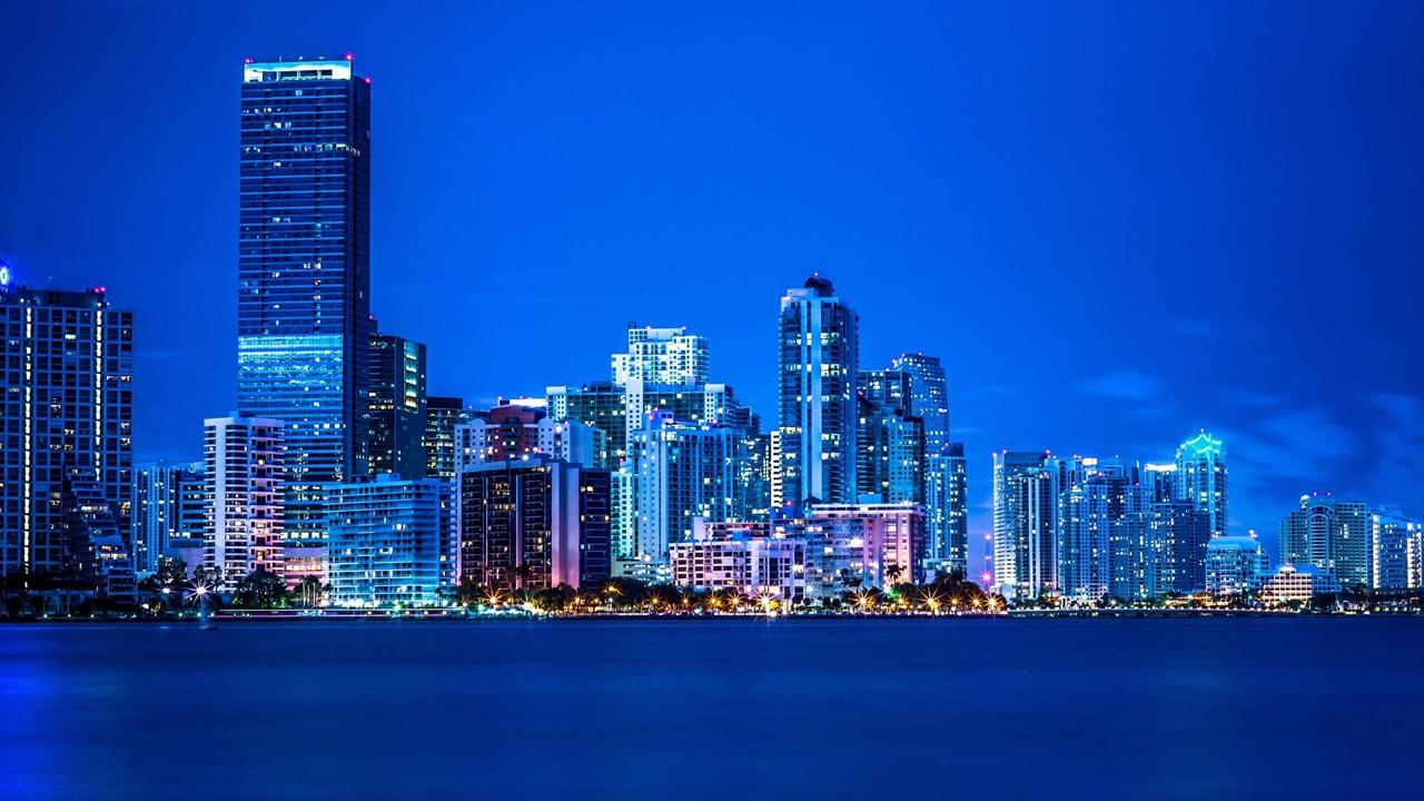 Blue city lights Wallpapers HD HD Desktop Wallpapers 1280x720