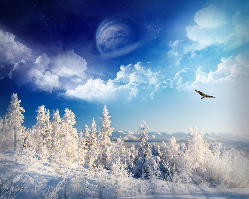 Winter Scenery PowerPoint Background  9 1000x800