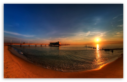Sunrise Ocean View Pier HD wallpaper for Standard 43 54 Fullscreen 510x330