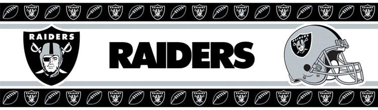 NFL Raiders Wall Border   Oakland Football Wall Decor Roll 750x219