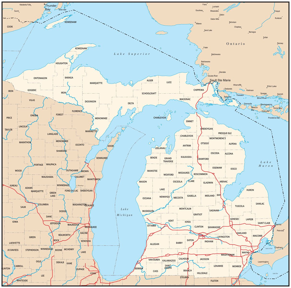 Michigan Map Wallpaper WallpaperSafari - Mi state map