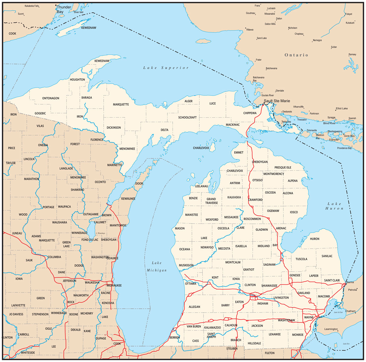 Michigan Map Wallpaper WallpaperSafari - State map of michigan