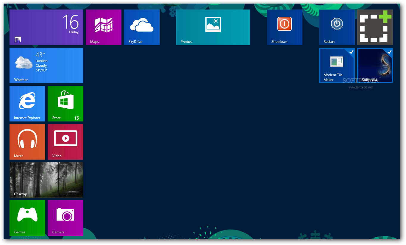 Maker Modern Tile Maker will place the created tile in the Windows 1364x823