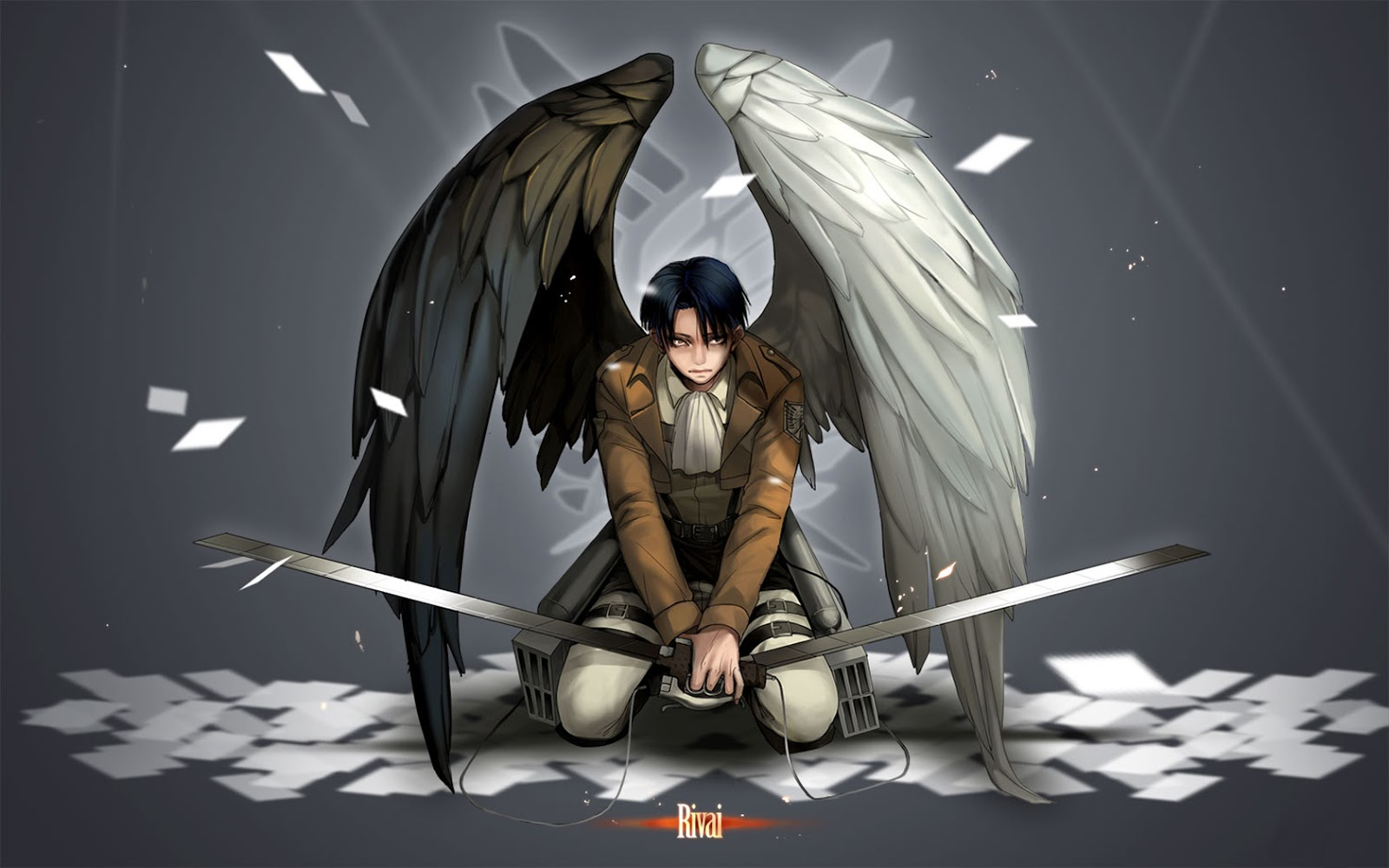 levi angel wings attack on titan wallpaper 1680x1050jpg 1600x1000