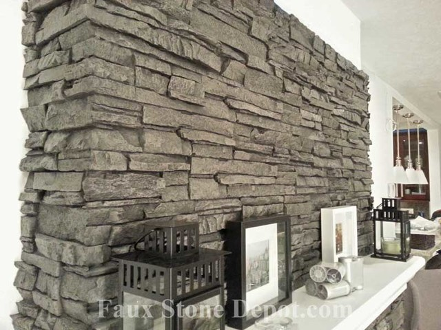 Faux Stone Fireplaces eclectic family room 640x480