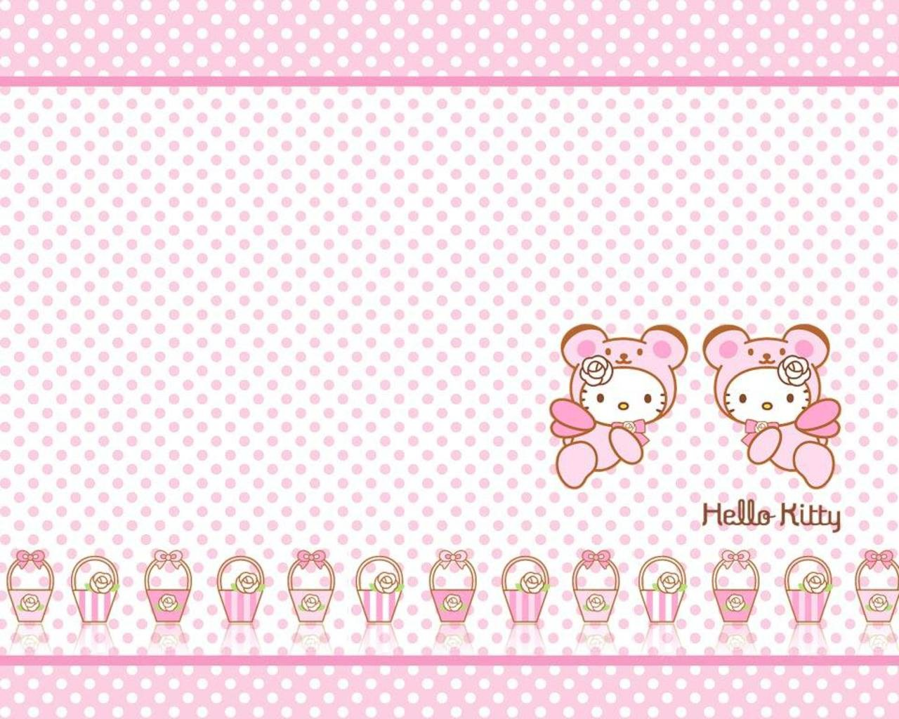 Pics Photos   Cute Hello Kitty With Pink Background 1280x1024