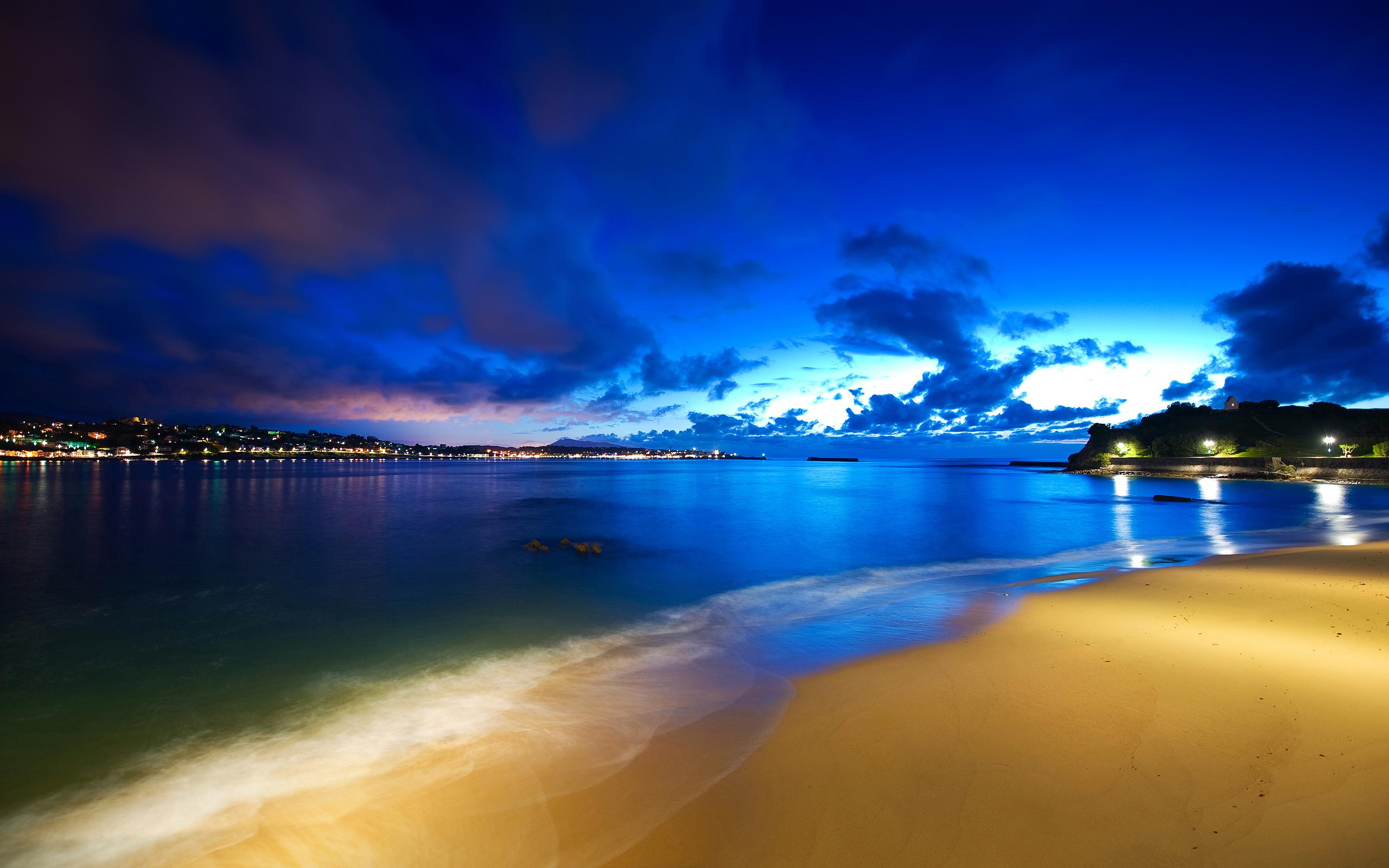 Ocean Beach At Night HD Wallpaper 2560x1600