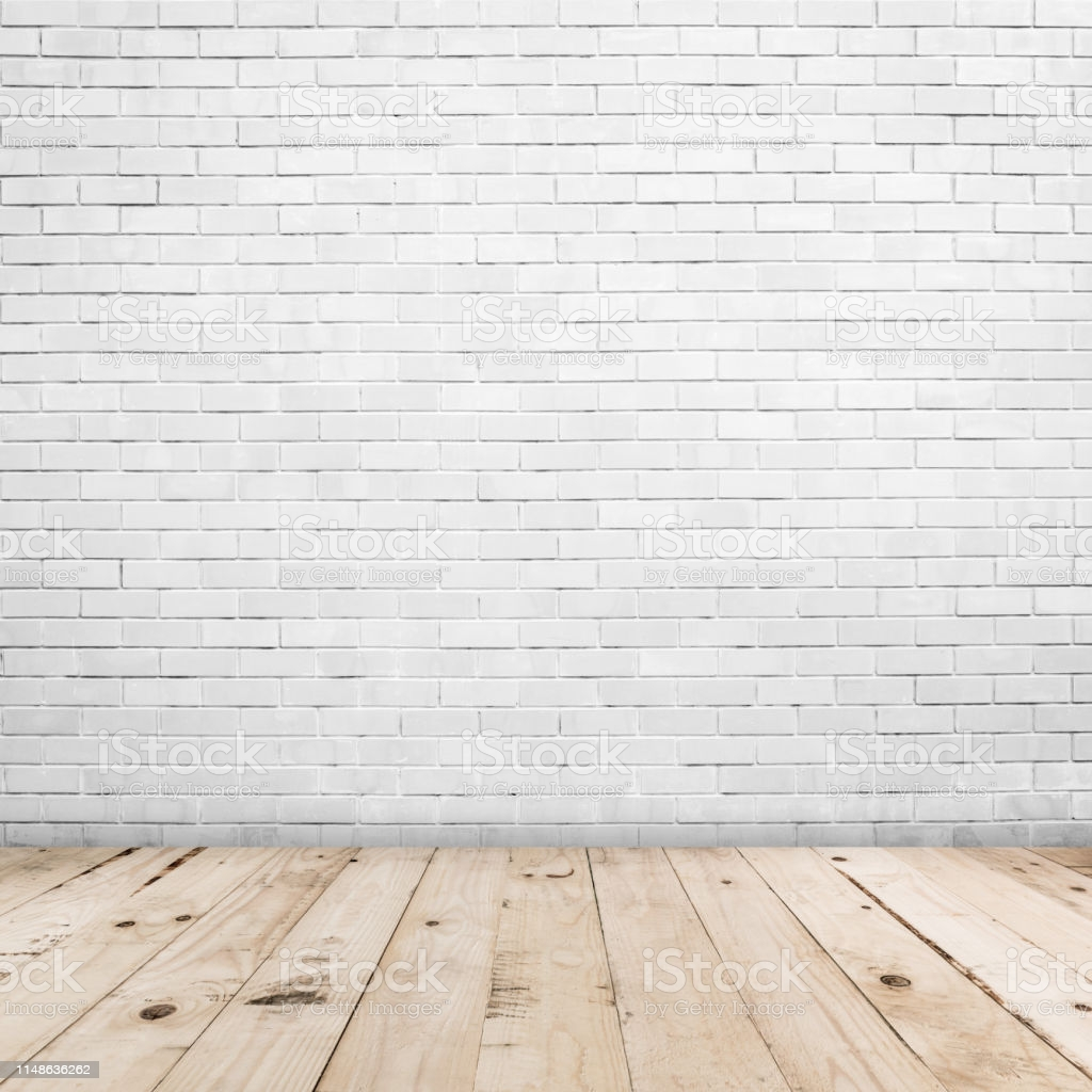 Old White Brick Wall And Wood Floor Background And Texture With 1024x1024