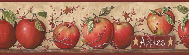 Country Apple Wallpaper Border CB5558BD red apples primitive decor 650x190