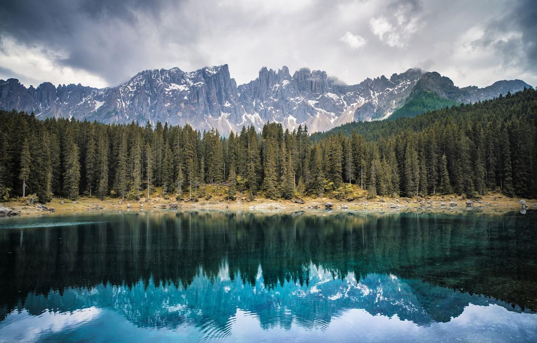 Wallpaper forest mountains lake Italy Bolzano Lake Carezza 1332x850