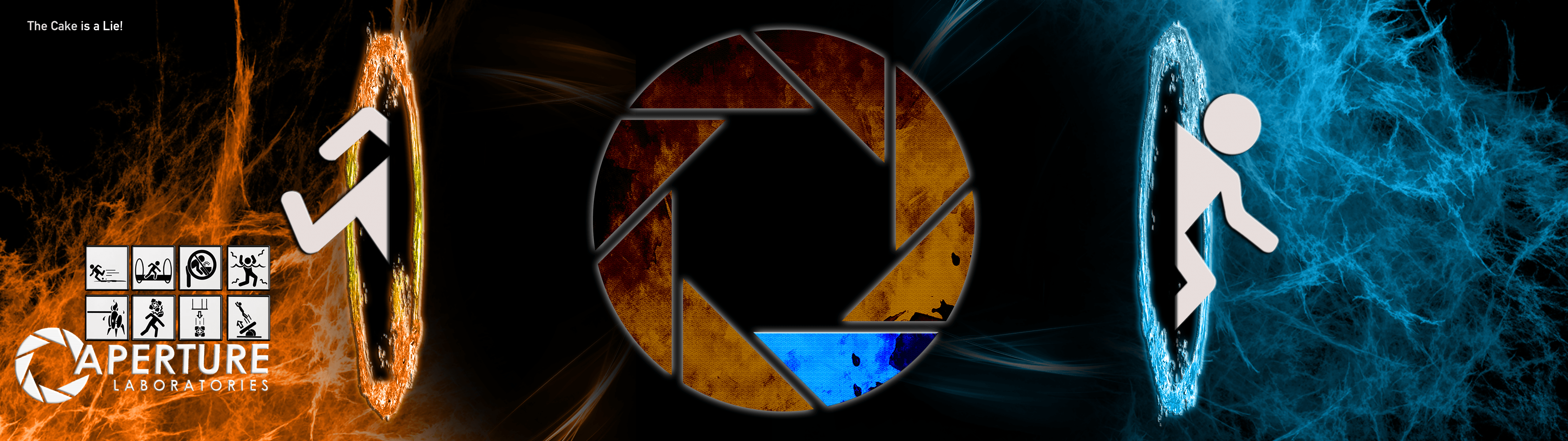 Portal Dual Screen Wallpaper v20 by iwalkwithedead 5120x1440