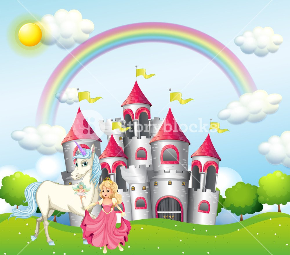 Background scene with princess and unicorn at pink castle Royalty 1000x879