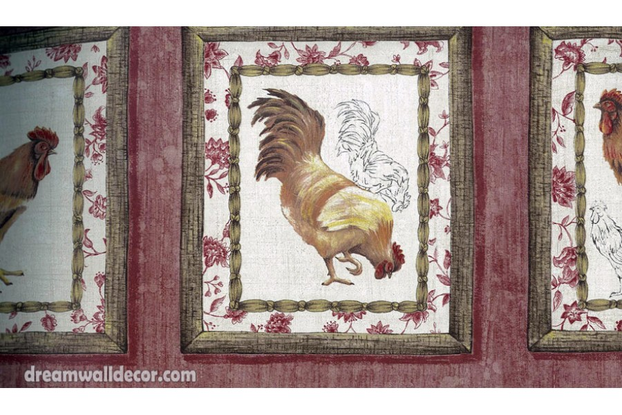 Tan Framed Rooster Wallpaper Border 900x600