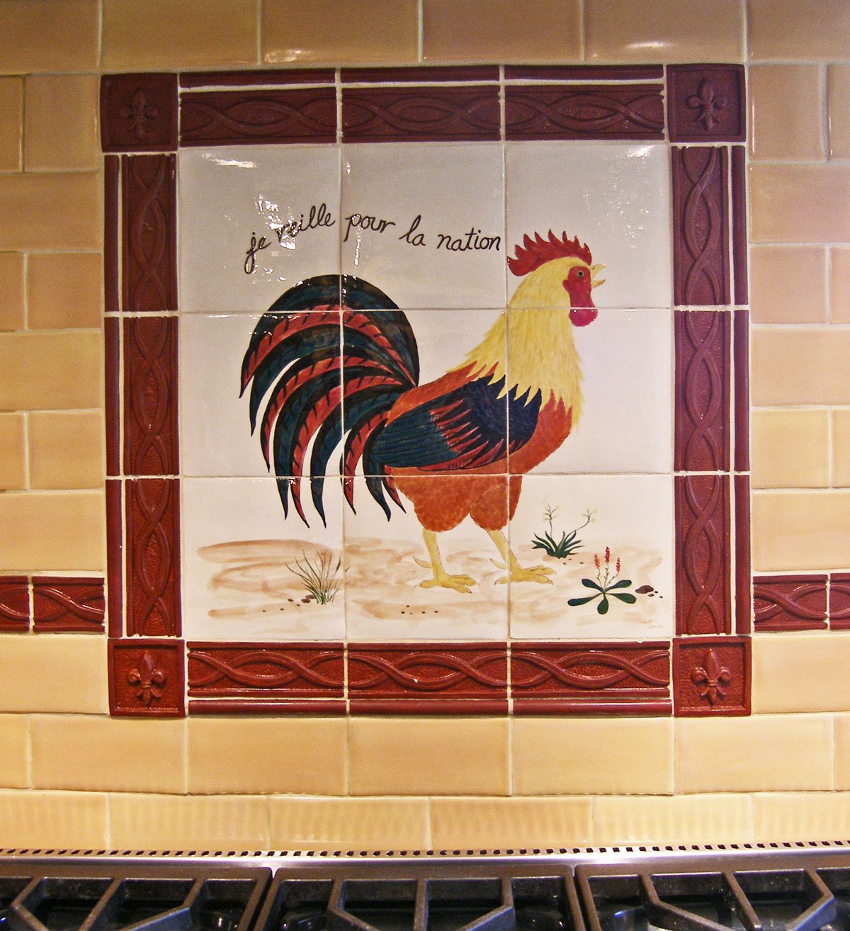 French Country Kitchen Installation Handpainted Custom French Rooster 1200x1314