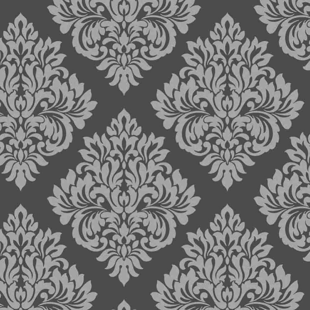 Black and silver wallpaper wallpapersafari for Black white damask wallpaper mural