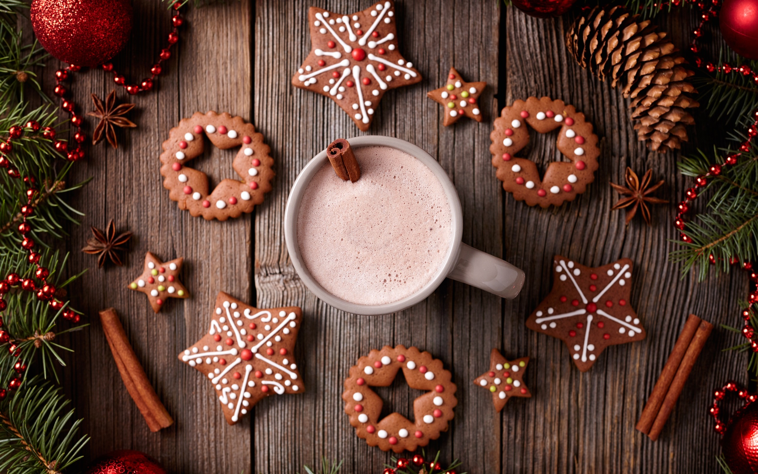 Merry Christmas cookies cup drinks wallpaper 2560x1600