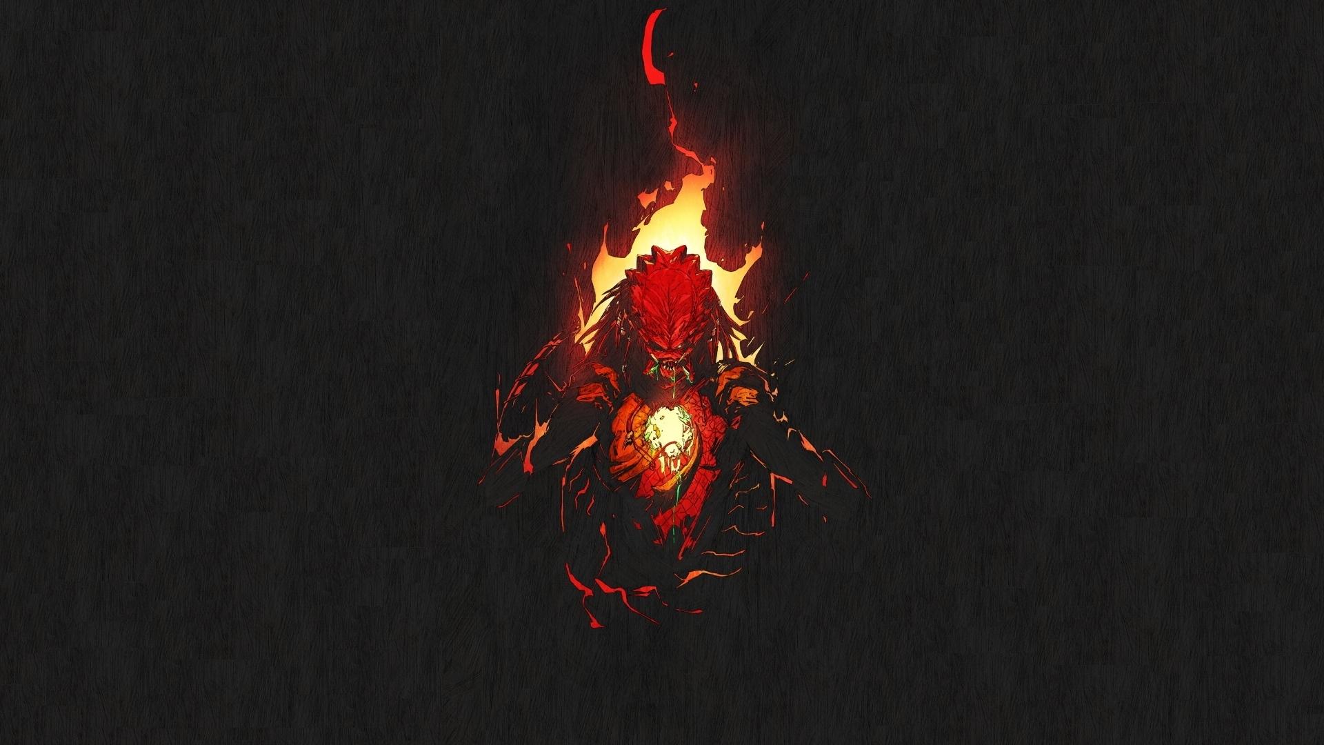 Desktop wallpaper predator digital art dark fire hd image 1920x1080
