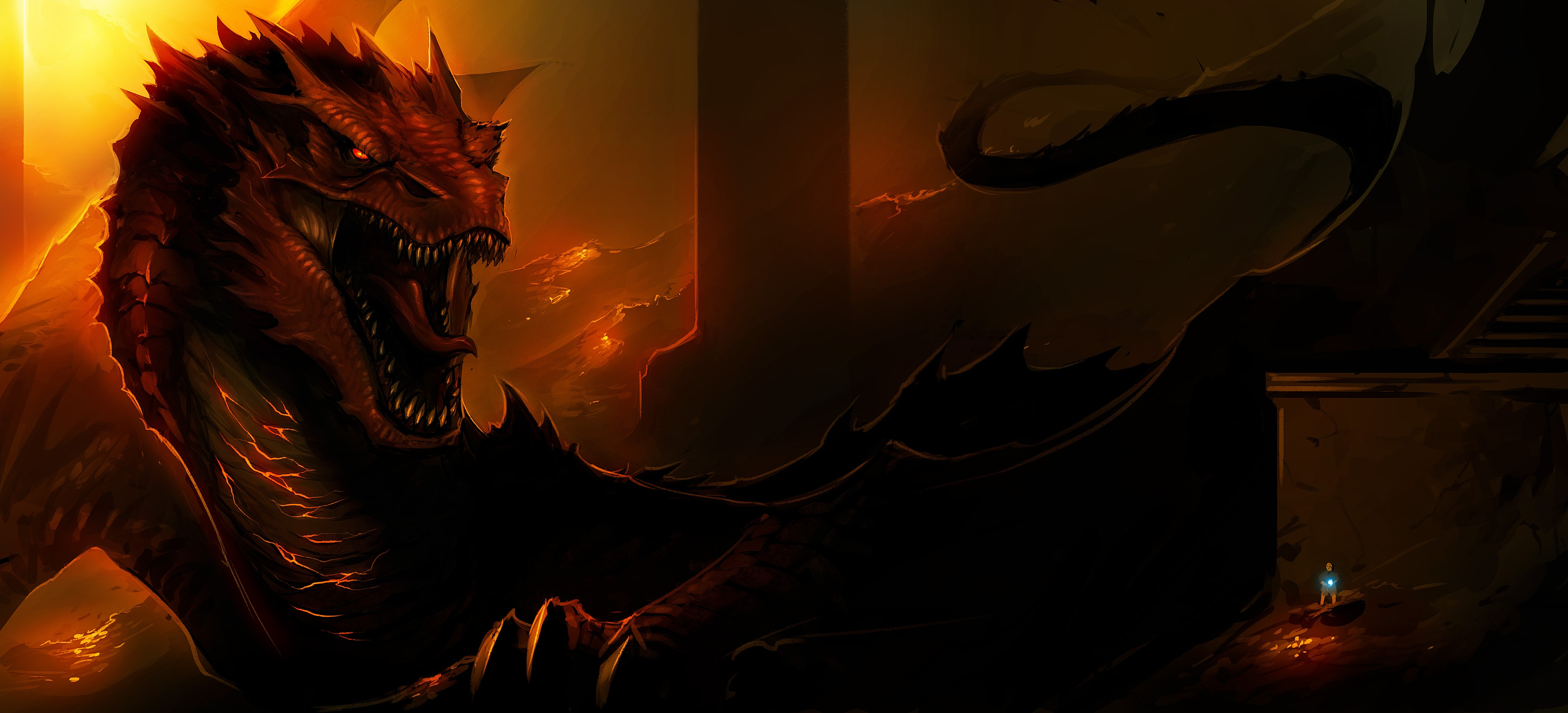 Wallpaper smaug lord of the rings 4109x1868