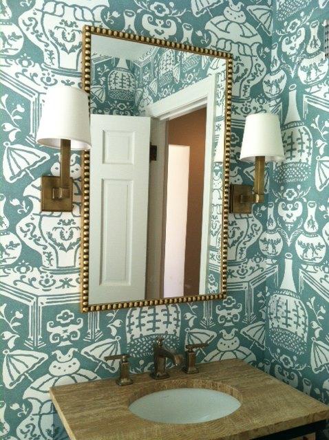 David Hicks The Vase Wallpaper Contemporary bathroom Amie Corley 478x640