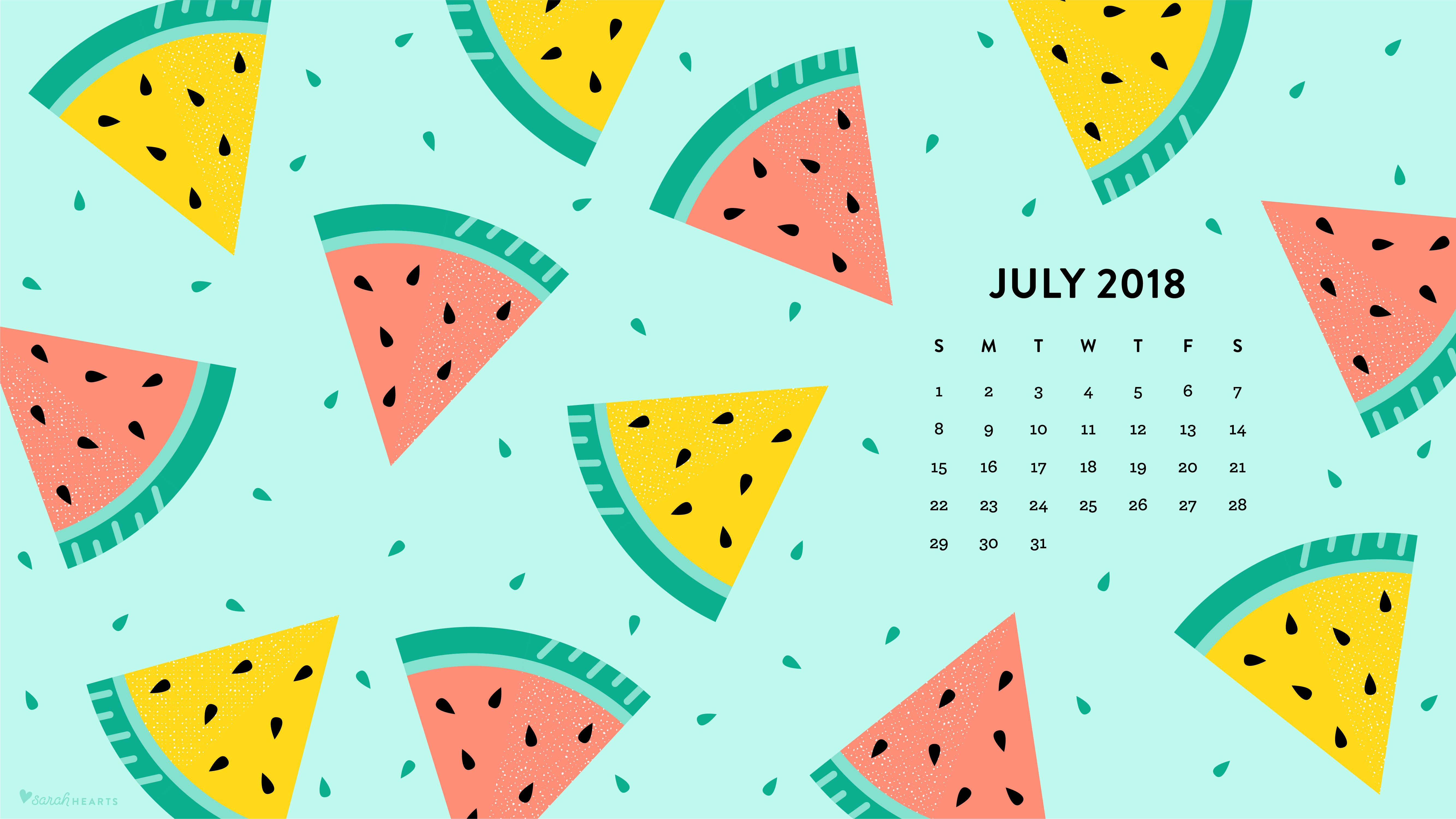 July 2018 Watermelon Calendar Wallpaper   Sarah Hearts 5334x3001