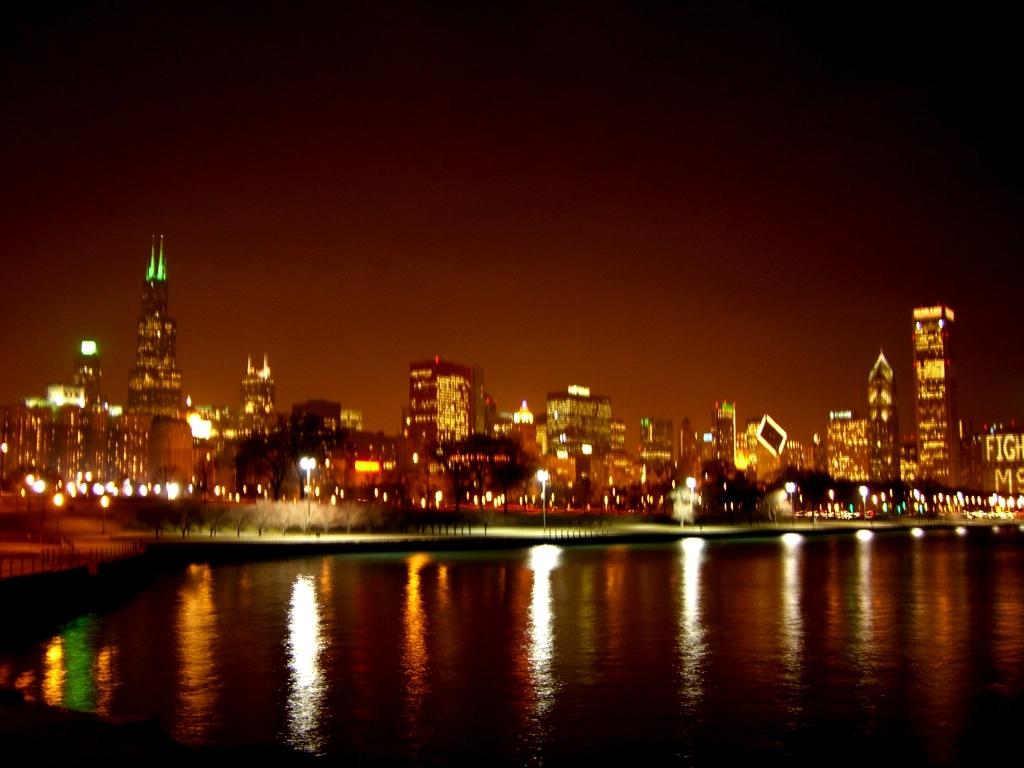 Chicago skyline wallpaper night wallpapersafari - Skyline night wallpaper ...
