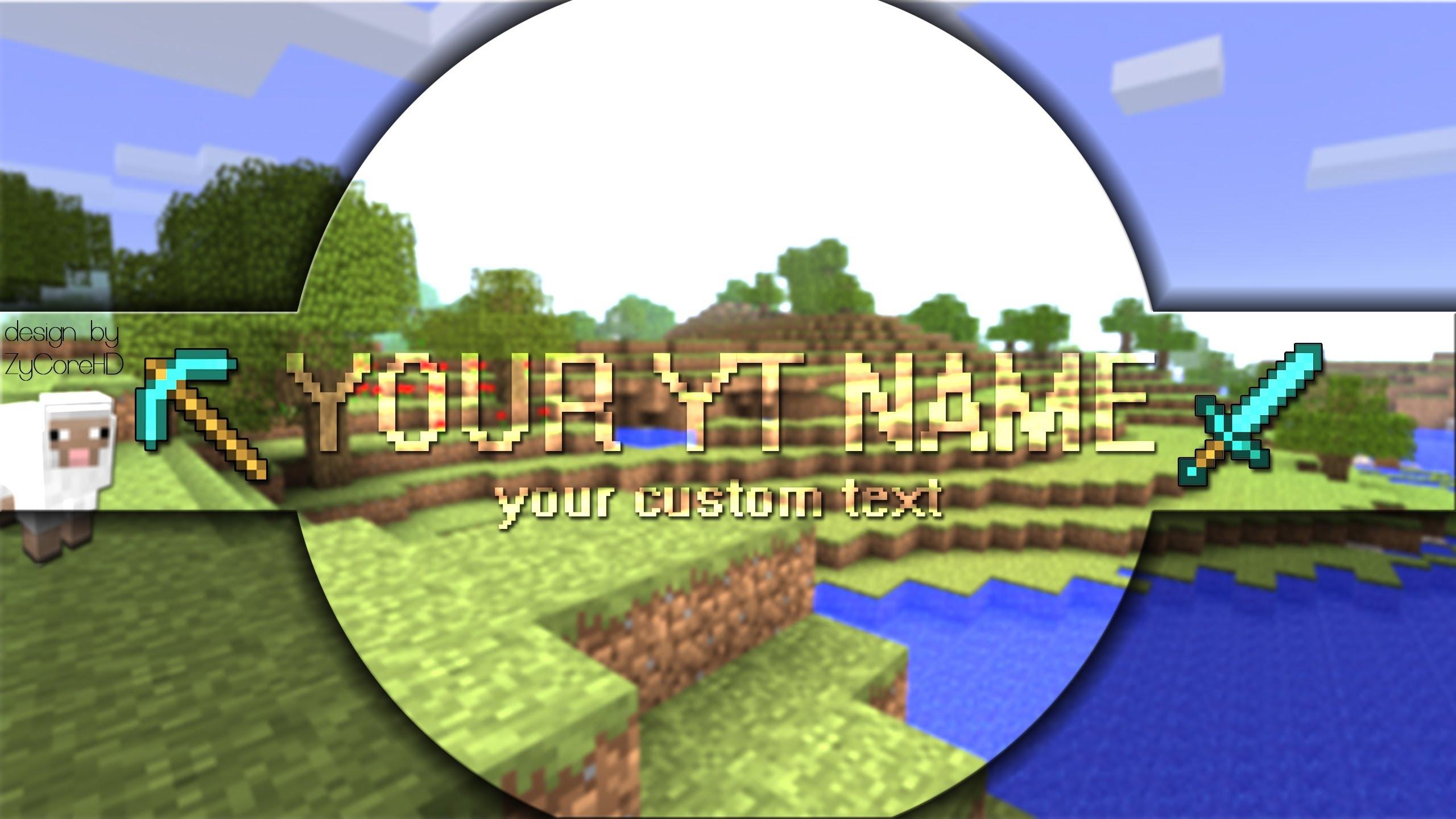 Custom Minecraft Channel Banner For New YouTube Download Speedart 2560x1440