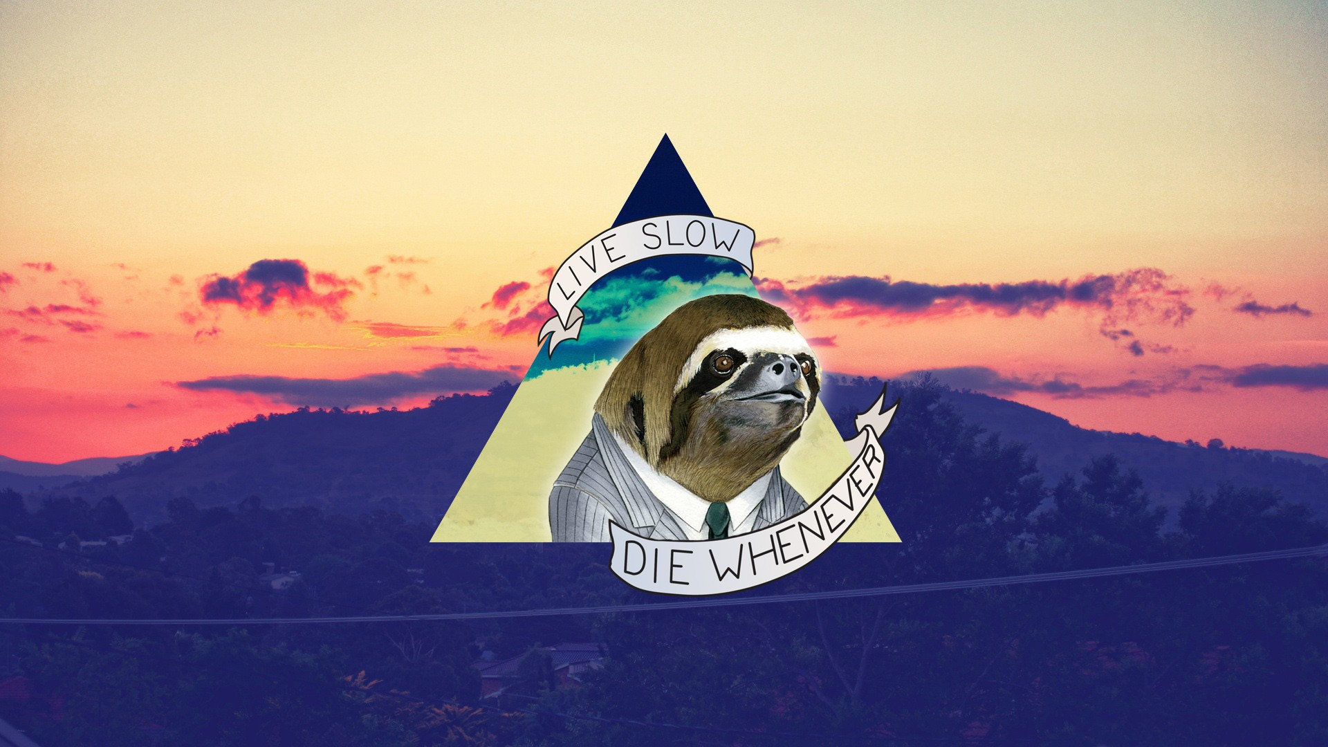 Live slow die whenever wallpaper sloths quotes 1920x1080