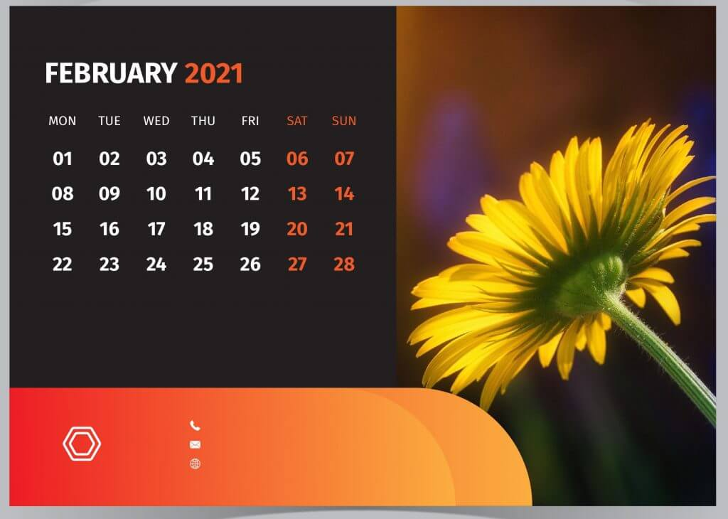 February 2021 Desktop Calendar Wallpaper