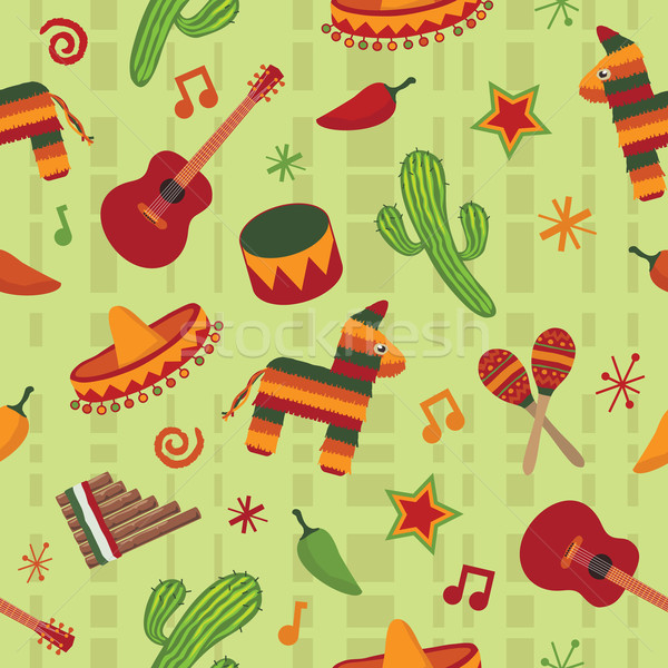 illustration seamless mexican pattern wallpaper with clipping mask 600x600
